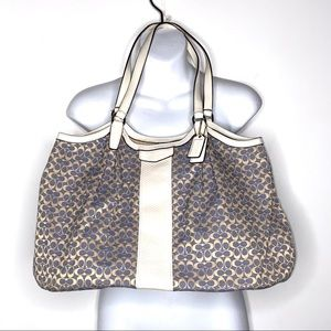 Large Genuine Coach Blue Beige Leather Handbag